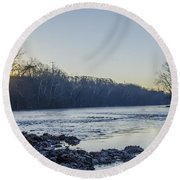Schuylkill River Sunrise Linfield Pa Round Beach Towel