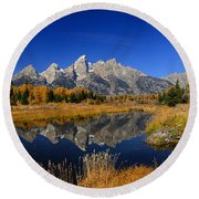 Schwabacher Landing Panorama Round Beach Towel