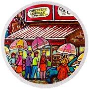 Schwartz's Deli Rainy Day Line-up Umbrella Paintings Montreal Memories April Showers Carole Spandau  Round Beach Towel