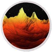 Sci Fi Mountains Landscape Round Beach Towel