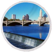 Scioto River With Waterfall Round Beach Towel