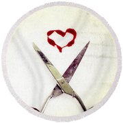 Scissors And Heart Round Beach Towel
