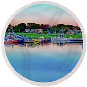 Scituate Harbor At Sunset Round Beach Towel