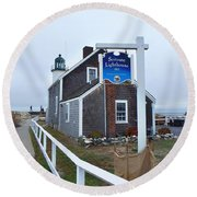 Scituate Lighthouse 1 Round Beach Towel