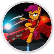 Scootaloo The Protester Round Beach Towel