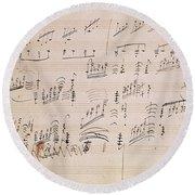 Score Sheet Of Moonlight Sonata Round Beach Towel