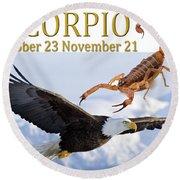 Scorpio Astrology Art Round Beach Towel