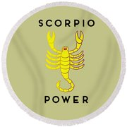Scorpio Power Round Beach Towel by Judy Hall-Folde