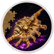 Scorpion Shell Puzzle Round Beach Towel