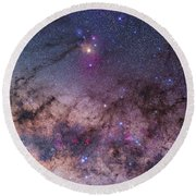Scorpius With Parts Of Lupus And Ara Round Beach Towel