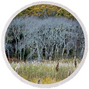 Scorton Creek Treeline Round Beach Towel