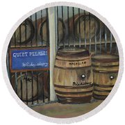Scotch Whiskey - Barrels - Macallan Round Beach Towel