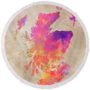 Scotland Map Round Beach Towel