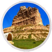 Scots Bluff National Monument Round Beach Towel