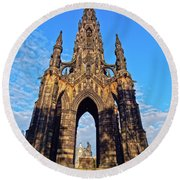 Scott Monument, Edinburgh, Scotland Round Beach Towel