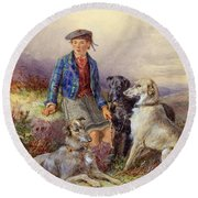 Scottish Boy With Wolfhounds In A Highland Landscape Round Beach Towel by James Jnr Hardy