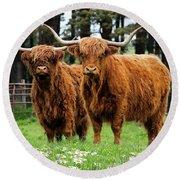 Scottish Highland Cows Round Beach Towel
