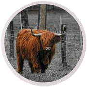 Scottish Highlander Round Beach Towel