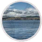 Scottish Panorama Over The River Clyde Round Beach Towel
