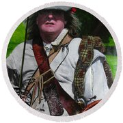 Scottish Soldier Of The Sealed Knot At The Ruthin Seige Re-enactment Round Beach Towel