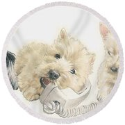 Scottish Terrier Puppies Round Beach Towel