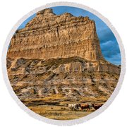 Scotts Bluff National Monument Round Beach Towel