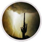 Scottsdale Arizona Fine Art Lightning Photography Poster Round Beach Towel