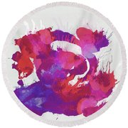 Scrambled Sunrise 2017 - Pink And Purple On White Round Beach Towel