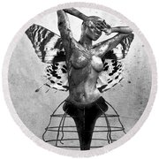 Scream Of A Butterfly II Round Beach Towel