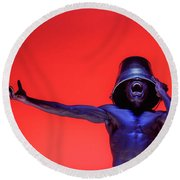 Screaming Dancer On Red Round Beach Towel