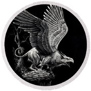 Screaming Griffon Round Beach Towel