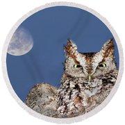 Screech Owl Round Beach Towel