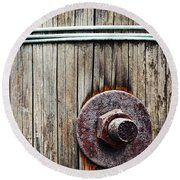 Screw Attached To A Wooden Beam Round Beach Towel