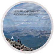 Scripture And Picture Micah 4 1 Round Beach Towel
