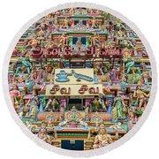 sculptures on Arulmigu Kapaleeswarar Temple, Chennai, Tamil Nadu Round Beach Towel