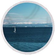 Sea And Snowy Alps Round Beach Towel
