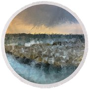 Sea And Stones Round Beach Towel
