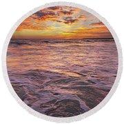 Sea At Sunset In Algarve Round Beach Towel