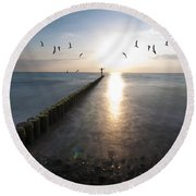 Sea Birds Sunset. Round Beach Towel