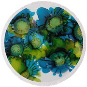 Sea Blooms Round Beach Towel