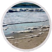 Sea Foam At The Shore Round Beach Towel