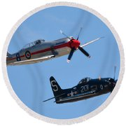 Sea Fury And Bearcat Round Beach Towel