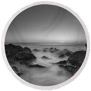 Sea Girt Nj Sunrise Version 2 Bw Round Beach Towel
