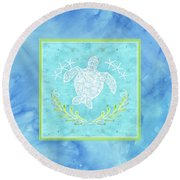 Flamingo Beach 1 - Turtle With Starfish  Round Beach Towel