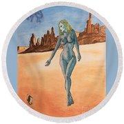 Sea Goddess In Utah Round Beach Towel