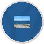 Sea Gulls Gather Round Beach Towel