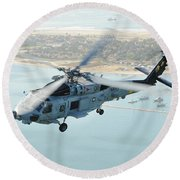 Sea Hawk Helicopter Flies Over  San Diego Round Beach Towel