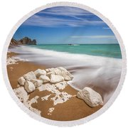 Sea In Motion Round Beach Towel