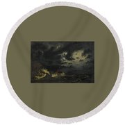 Sea In The Moonlight Round Beach Towel