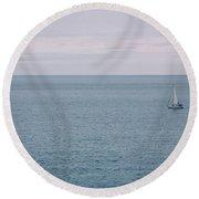 Sea Landscape With Alone Sailboat In Garda Round Beach Towel